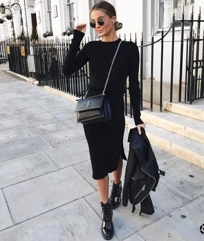 Total black look na zimę