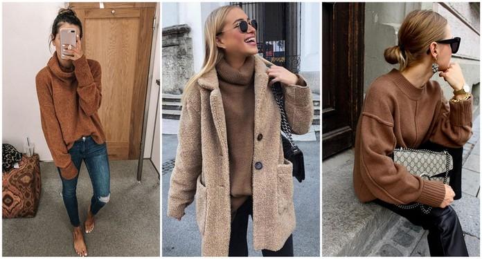 stylizacje z brązowym swetrem