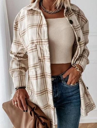 stylizacje z kurtką w kratę