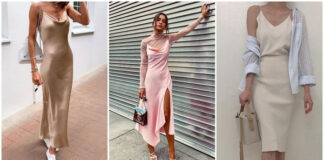 stylizacje z satynową sukienką